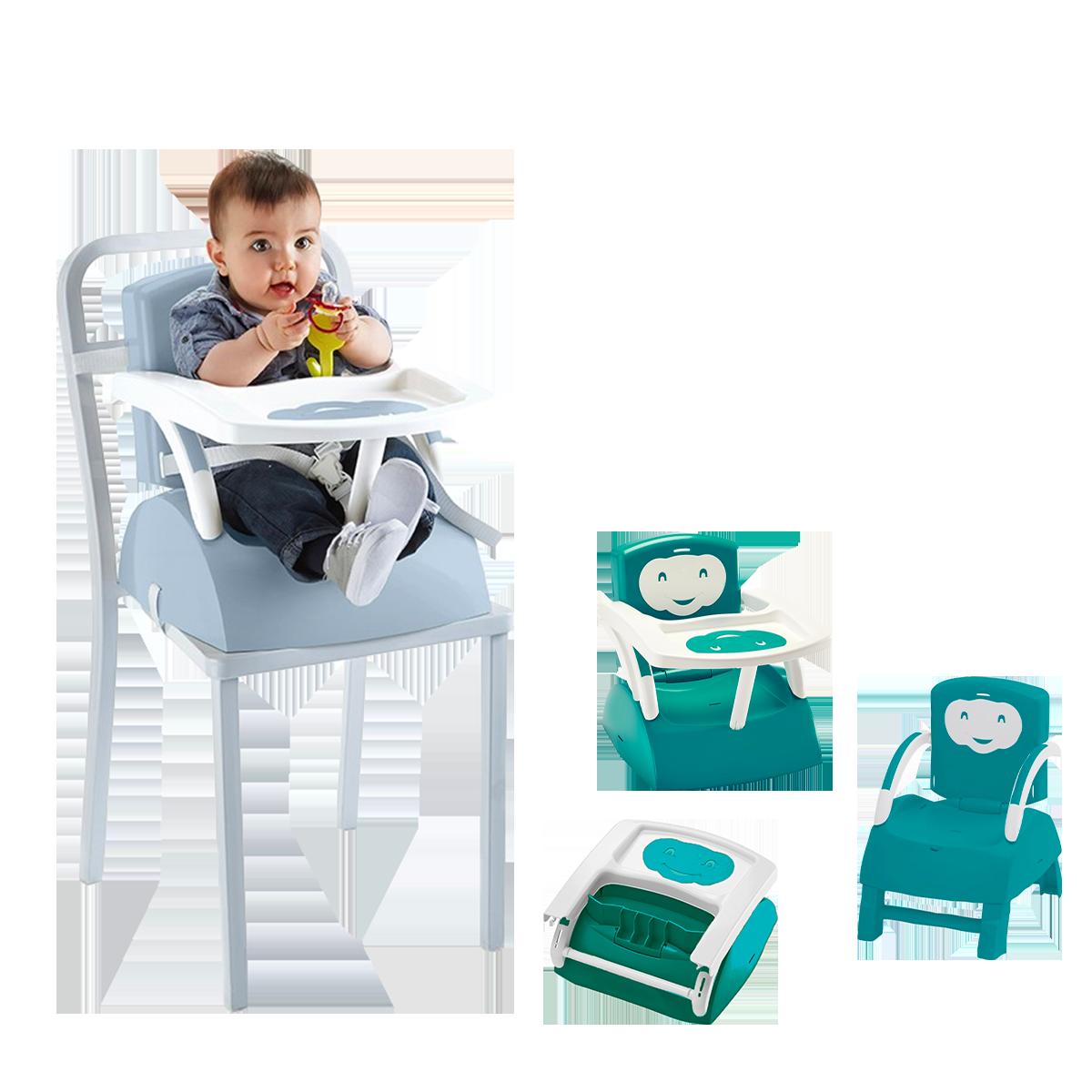 Rehausseur de chaise évolutif fleur bleue/ blanc cassé - Thermobaby