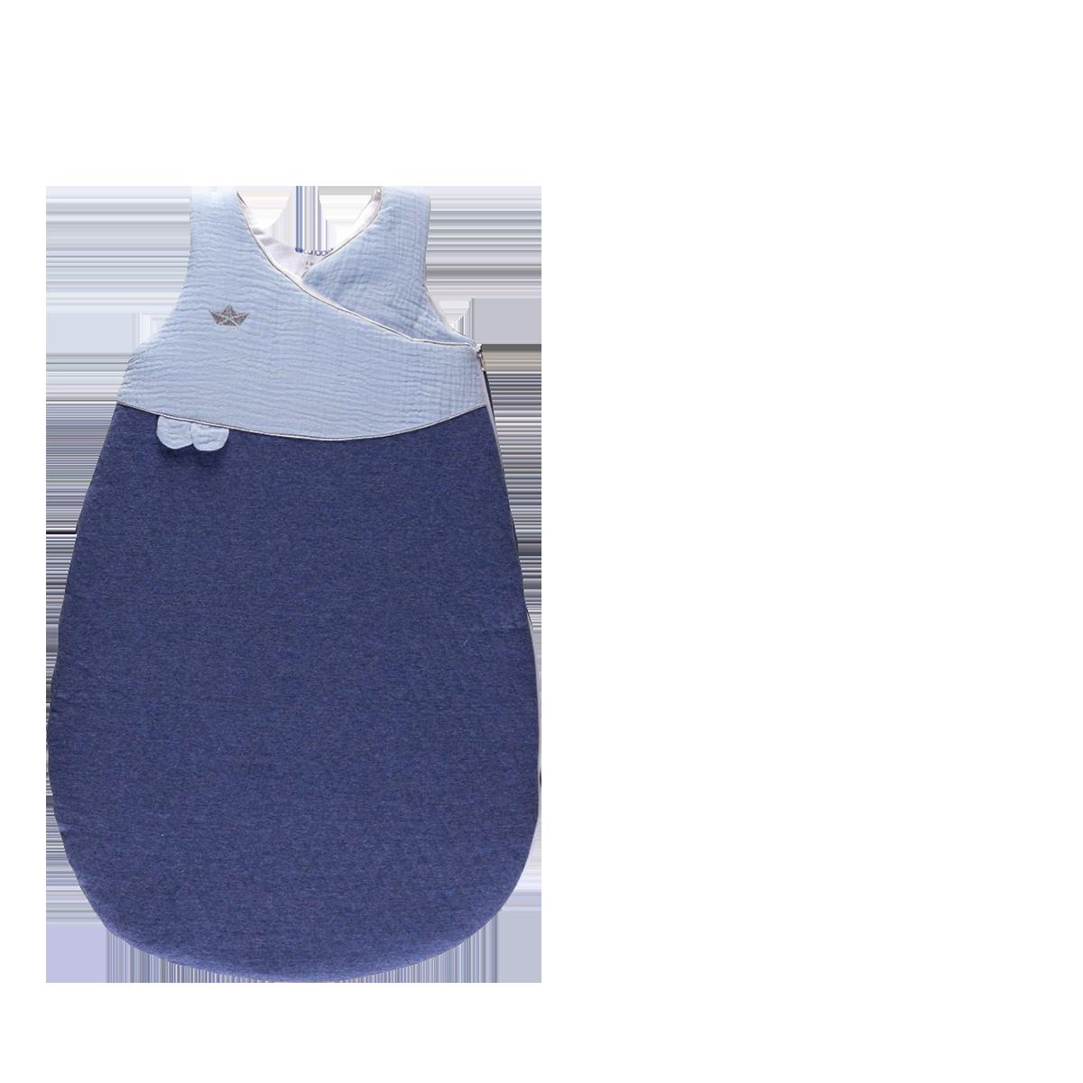 Gigoteuse bébé Douillette naissance 72cm chaude jersey matelassé/lange Bleu- Candide